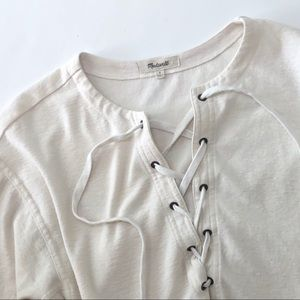Madewell lace-up top cream tee Libra 3/4sleeves